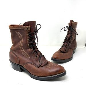 Justin boots brown leather fringe ankle boots 8.5